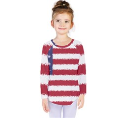 Flag Of The United States America Kids  Long Sleeve Tee by paulaoliveiradesign