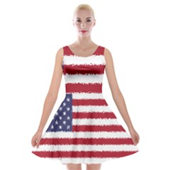 Flag Of The United States America Velvet Skater Dress by paulaoliveiradesign