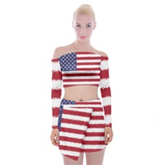 Flag Of The United States America Off Shoulder Top With Skirt Set by paulaoliveiradesign