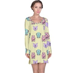 Animals Pastel Children Colorful Long Sleeve Nightdress