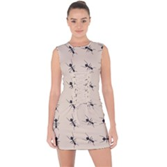 Ants Pattern Lace Up Front Bodycon Dress