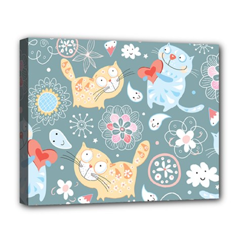 Cute Cat Background Pattern Deluxe Canvas 20  X 16