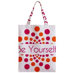 Be Yourself Pink Orange Dots Circular Classic Tote Bag by BangZart