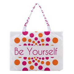 Be Yourself Pink Orange Dots Circular Medium Tote Bag by BangZart