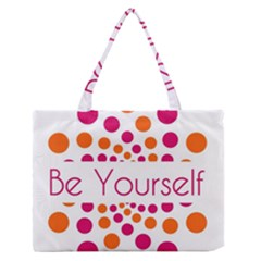Be Yourself Pink Orange Dots Circular Medium Zipper Tote Bag by BangZart