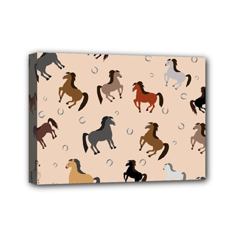 Horses For Courses Pattern Mini Canvas 7  X 5