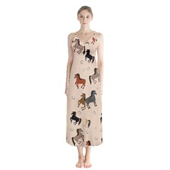 Horses For Courses Pattern Button Up Chiffon Maxi Dress