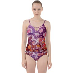 Colorful Art Traditional Batik Pattern Cut Out Top Tankini Set