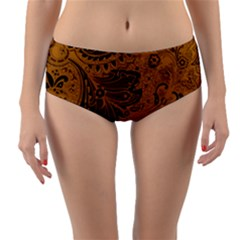Art Traditional Batik Flower Pattern Reversible Mid Waist Bikini Bottoms by BangZart