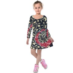 Art Batik Pattern Kids  Long Sleeve Velvet Dress