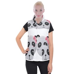 Pretty Cute Panda Women s Button Up Puffer Vest
