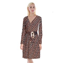 Art Traditional Batik Pattern Long Sleeve Velvet Front Wrap Dress