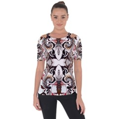 Art Traditional Batik Flower Pattern Short Sleeve Top