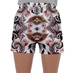 Art Traditional Batik Flower Pattern Sleepwear Shorts