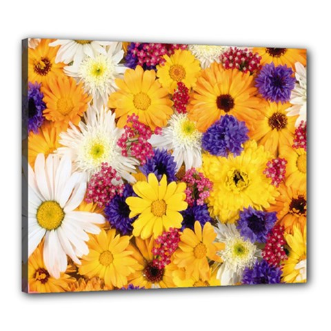 Colorful Flowers Pattern Canvas 24  X 20  by BangZart