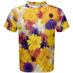Colorful Flowers Pattern Men s Cotton Tee by BangZart