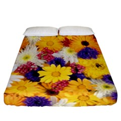 Colorful Flowers Pattern Fitted Sheet (california King Size)