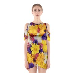 Colorful Flowers Pattern Shoulder Cutout One Piece