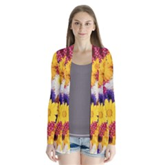 Colorful Flowers Pattern Drape Collar Cardigan by BangZart