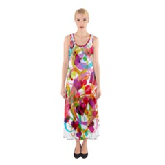 Abstract Colorful Heart Sleeveless Maxi Dress by BangZart