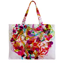 Abstract Colorful Heart Zipper Mini Tote Bag by BangZart