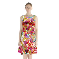 Abstract Colorful Heart Sleeveless Waist Tie Chiffon Dress by BangZart
