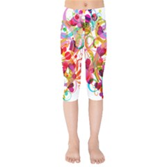 Abstract Colorful Heart Kids  Capri Leggings  by BangZart
