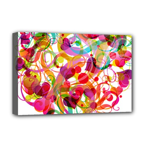 Abstract Colorful Heart Deluxe Canvas 18  X 12   by BangZart