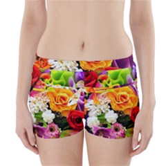 Colorful Flowers Boyleg Bikini Wrap Bottoms by BangZart