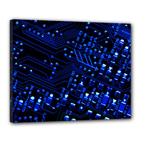 Blue Circuit Technology Image Canvas 20  X 16  by BangZart