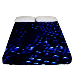Blue Circuit Technology Image Fitted Sheet (queen Size) by BangZart