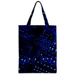 Blue Circuit Technology Image Zipper Classic Tote Bag by BangZart