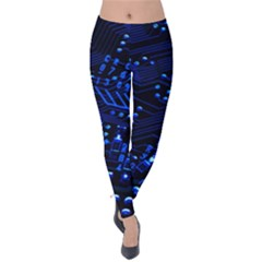 Blue Circuit Technology Image Velvet Leggings