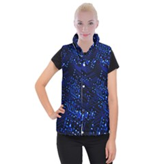 Blue Circuit Technology Image Women s Button Up Puffer Vest