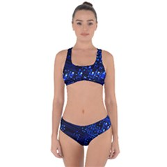 Blue Circuit Technology Image Criss Cross Bikini Set