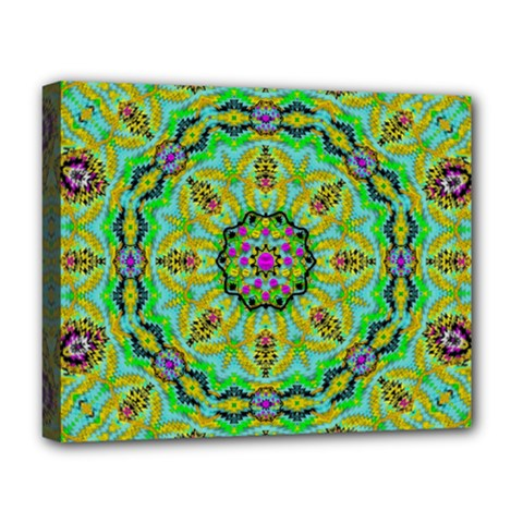 Golden Star Mandala In Fantasy Cartoon Style Deluxe Canvas 20  X 16   by pepitasart
