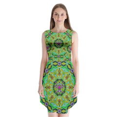 Golden Star Mandala In Fantasy Cartoon Style Sleeveless Chiffon Dress   by pepitasart
