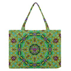 Golden Star Mandala In Fantasy Cartoon Style Medium Zipper Tote Bag by pepitasart