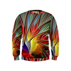 Fractal Bird Of Paradise Kids  Sweatshirt