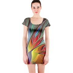 Fractal Bird Of Paradise Short Sleeve Bodycon Dress
