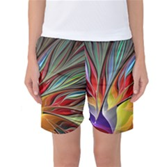 Fractal Bird Of Paradise Women s Basketball Shorts