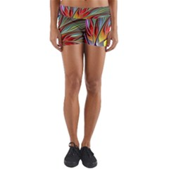 Fractal Bird Of Paradise Yoga Shorts by WolfepawFractals
