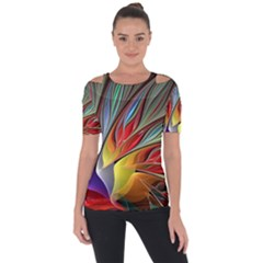 Fractal Bird Of Paradise Short Sleeve Top by WolfepawFractals