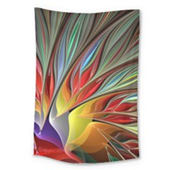 Fractal Bird Of Paradise Large Tapestry by WolfepawFractals
