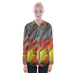 Fractal Bird Of Paradise Womens Long Sleeve Shirt by WolfepawFractals