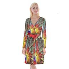 Fractal Bird Of Paradise Long Sleeve Velvet Front Wrap Dress by WolfepawFractals