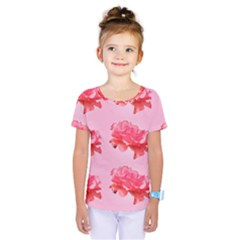 Pink Floral Pattern Kids  One Piece Tee by paulaoliveiradesign