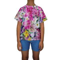 Colorful Flowers Patterns Kids  Short Sleeve Swimwear