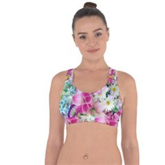 Colorful Flowers Patterns Cross String Back Sports Bra by BangZart