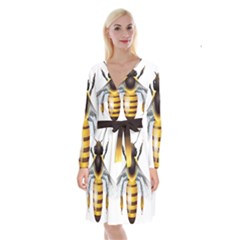 Bee Long Sleeve Velvet Front Wrap Dress by BangZart